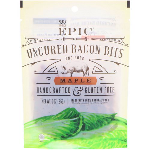 Epic Bar, Uncured Bacon Bits and Pork, Maple, 3 oz (85 g) فوائد