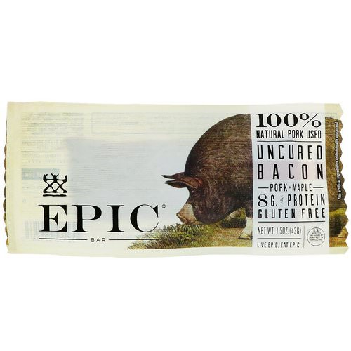 Epic Bar, Uncured Bacon, Pork + Maple Bar, 12 Bars, 1.5 oz (43 g) Each فوائد