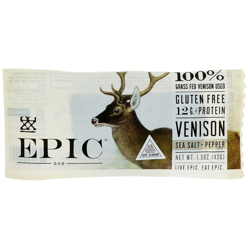 Epic Bar, Venison Sea Salt + Pepper Bar, 12 Bars, 1.5 oz (43 g) Each فوائد