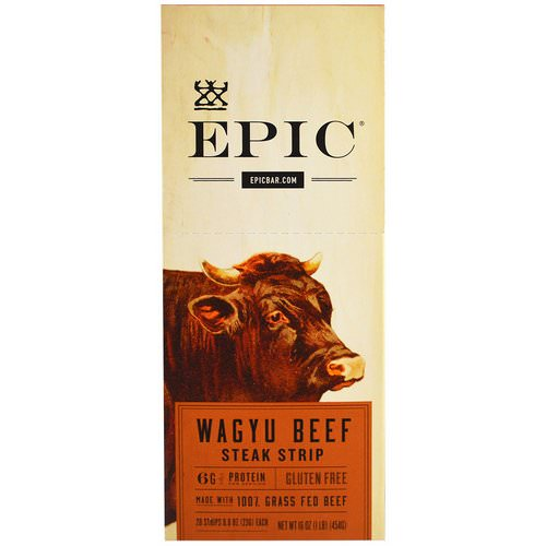Epic Bar, Wagyu Beef Steak Strip, 20 Strips, 0.8 oz (23 g) Each فوائد
