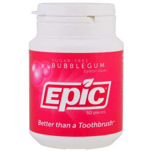 Epic Dental, Xylitol Gum, Sugar-Free, Bubblegum, 50 Pieces فوائد