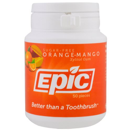 Epic Dental, Xylitol Gum, Sugar-Free, Orange-Mango, 50 Pieces فوائد