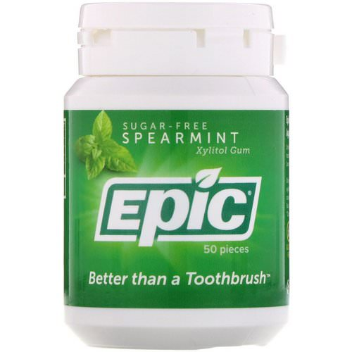 Epic Dental, Xylitol Gum, Sugar Free, Spearmint, 50 Pieces فوائد