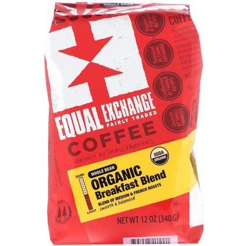 Equal Exchange, Organic, Coffee, Breakfast Blend, Whole Bean, 12 oz (340 g) فوائد