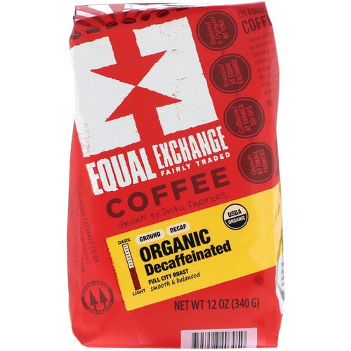 Equal Exchange, Organic, Coffee, Decaffeinated, Full City Roast, Ground, 12 oz (340 g) فوائد