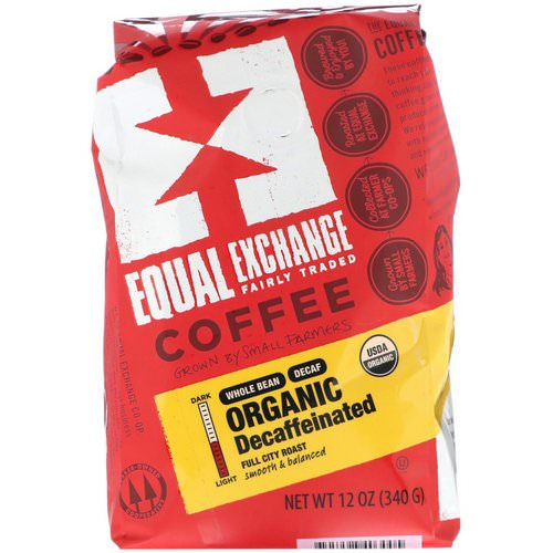 Equal Exchange, Organic, Coffee, Decaffeinated, Full City Roast, Whole Bean, 12 oz (340 g) فوائد