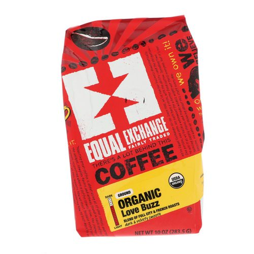 Equal Exchange, Organic, Coffee, Love Buzz, Ground, 10 oz (283.5 g) فوائد