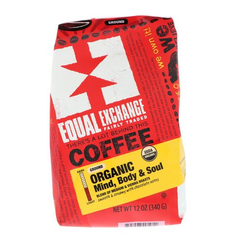 Equal Exchange, Organic, Coffee, Mind Body & Soul, Ground, 12 oz (340 g) فوائد