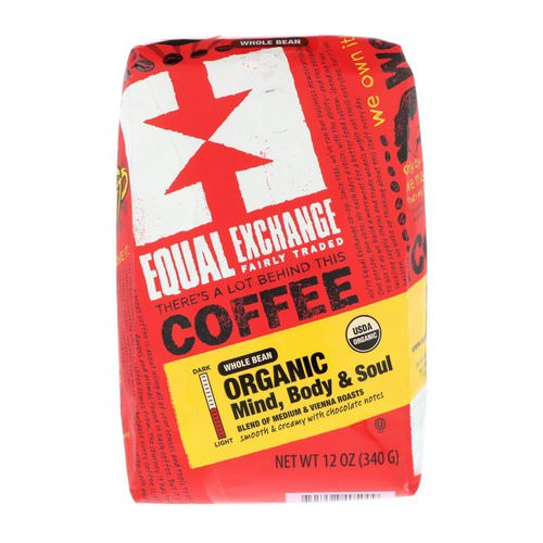 Equal Exchange, Organic, Coffee, Mind Body & Soul, Whole Bean, 12 oz (340 g) فوائد