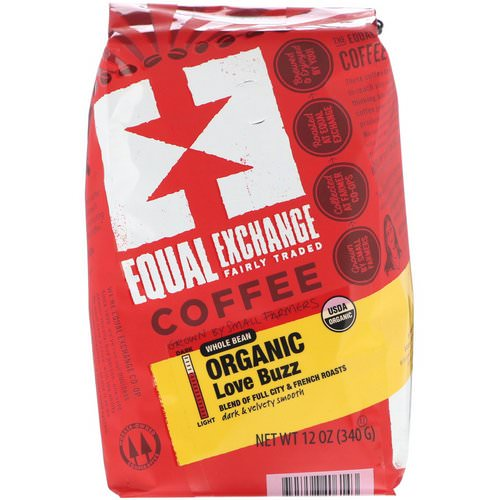 Equal Exchange, Organic Whole Bean Coffee, Love Buzz, 12 oz (340 g) فوائد