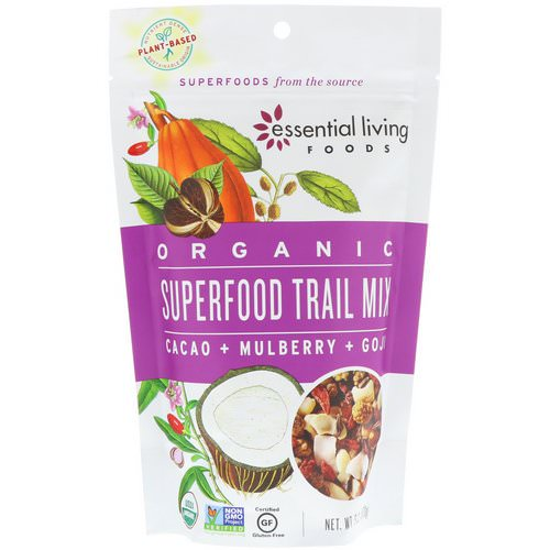 Essential Living Foods, Organic, Superfood Trail Mix, Cacao + Mulberry + Goji, 6 oz (170 g) فوائد