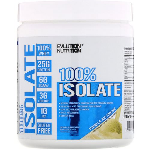 EVLution Nutrition, 100% Isolate, Vanilla Ice Cream, 0.33 lb (150 g) فوائد