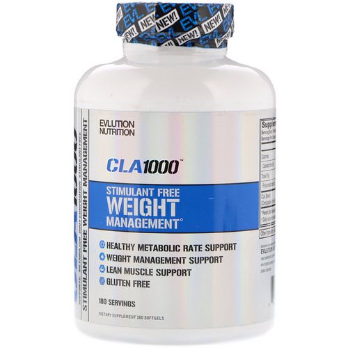 EVLution Nutrition, CLA 1000, Stimulant Free Weight Management, 180 Softgels فوائد