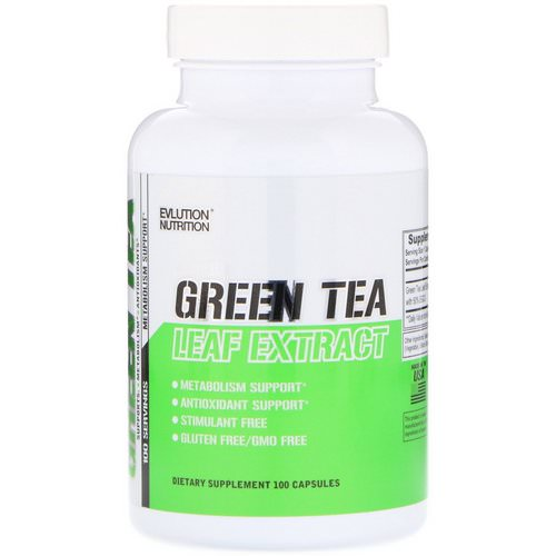 EVLution Nutrition, Green Tea Leaf Extract, 100 Capsules فوائد