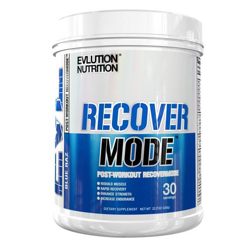 EVLution Nutrition, Recover Mode, Post-Workout RecoverMode, Blue Raz, 22.2 oz (6.30 g) فوائد