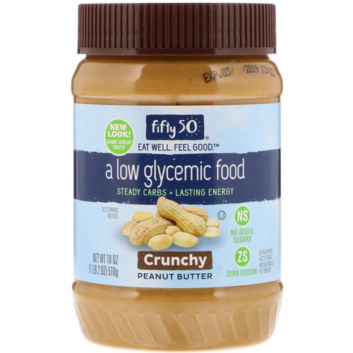 Fifty 50, Low Glycemic Peanut Butter, Crunchy, 18 oz (510 g) فوائد
