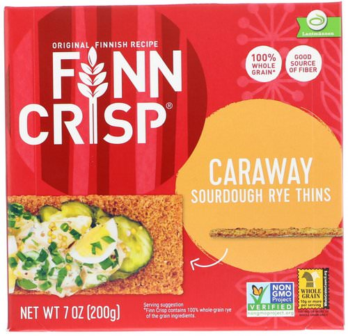 Finn Crisp, Caraway Sourdough Rye Thins, 7 oz (200 g) فوائد