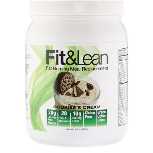 Fit & Lean, Fat Burning Meal Replacement, Cookies & Cream, 1.0 lb (450 g) فوائد