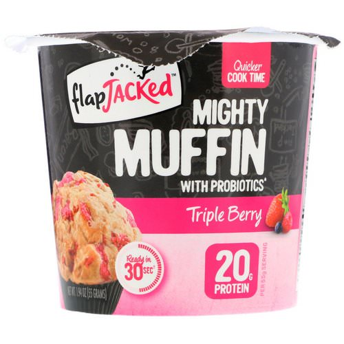 FlapJacked, Mighty Muffin with Probiotics, Triple Berry, 1.94 oz (55 g) فوائد