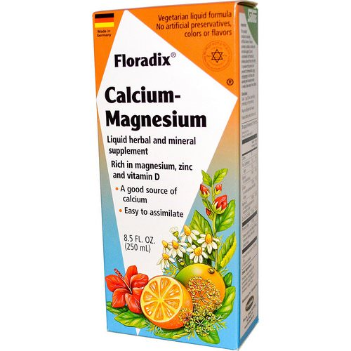 Flora, Salus-Haus, Floradix Calcium - Magnesium with Zinc and Vitamin D, 8.5 fl oz (250 ml) فوائد