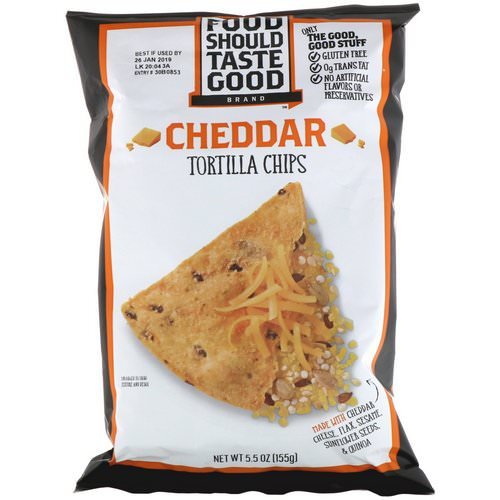 Food Should Taste Good, Cheddar Tortilla Chips, 5.5 oz (155 g) فوائد