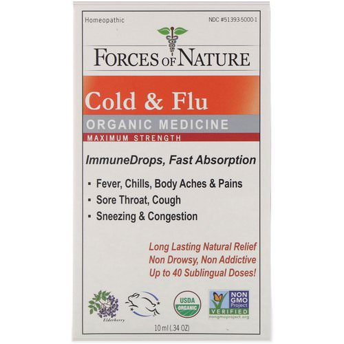 Forces of Nature, Cold & Flu, Organic Medicine, ImmuneDrops, Maximum Strength, 0.34 oz (10 ml) فوائد