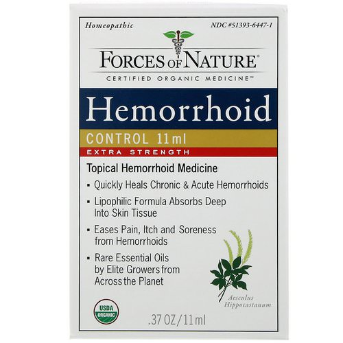 Forces of Nature, Hemorrhoid Control, Extra Strength, 0.37 oz (11 ml) فوائد