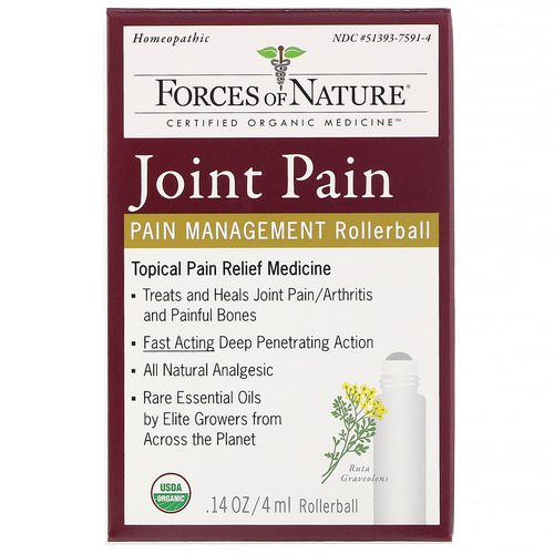 Forces of Nature, Joint Pain, Pain Management, Rollerball, 0.14 oz (4 ml) فوائد