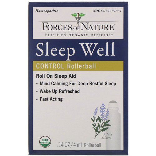 Forces of Nature, Sleep Well Control, Rollerball, 0.14 oz (4 ml) فوائد