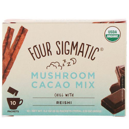 Four Sigmatic, Mushroom Cacao Mix, Sweet+ Cinnamon, 10 Packets, 0.2 oz (6 g) Each فوائد