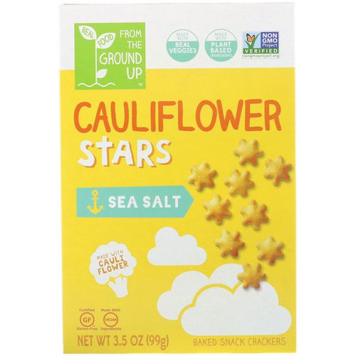 From The Ground Up, Cauliflower Stars, Baked Snack Crackers, Sea Salt, 3.5 oz (99 g) فوائد