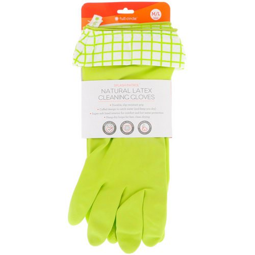 Full Circle, Splash Patrol, Natural Latex Cleaning Gloves, M/L, Green, 1 Pair فوائد