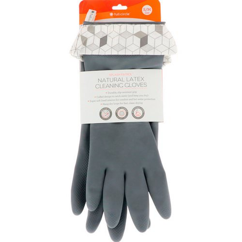 Full Circle, Splash Patrol, Natural Latex Cleaning Gloves, Size S/M, Grey, 1 Pair فوائد