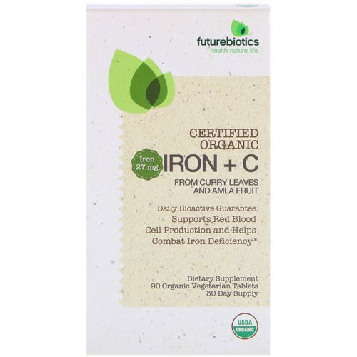 FutureBiotics, Certified Organic Iron + C, 90 Organic Vegetarian Tablets فوائد