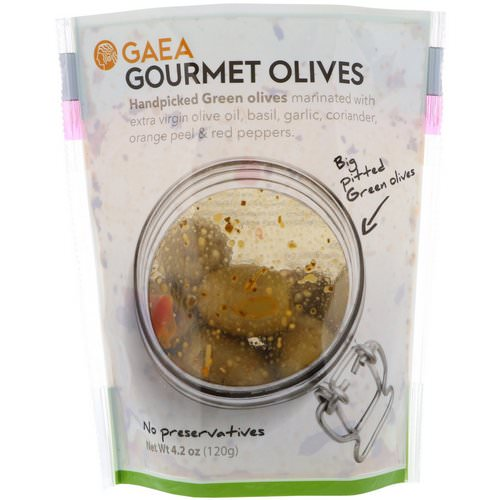 Gaea, Gourmet Olives, Marinated Pitted Green Olives, 4.2 oz (120 g) فوائد