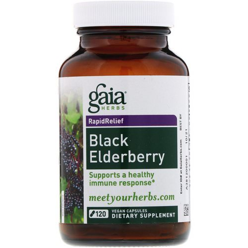 Gaia Herbs, Black Elderberry, 120 Vegan Capsules فوائد