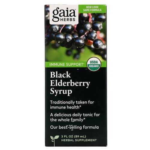 Gaia Herbs, Black Elderberry Syrup, 3 fl oz (89 ml) فوائد