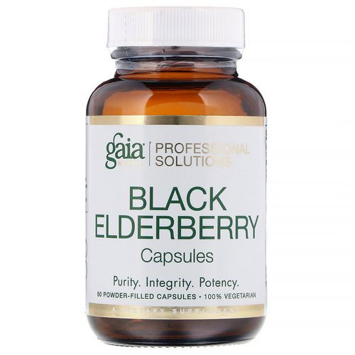 Gaia Herbs Professional Solutions, Black Elderberry, 60 Powder-Filled Capsules فوائد