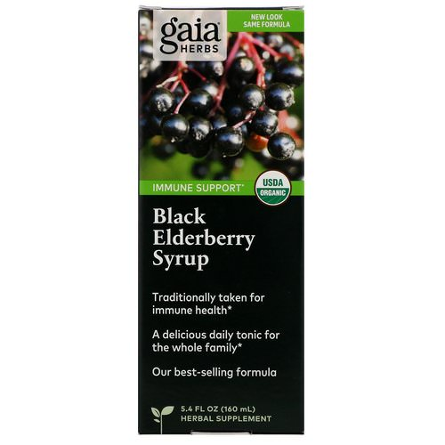 Gaia Herbs, Black Elderberry Syrup, 5.4 fl oz (160 ml) فوائد