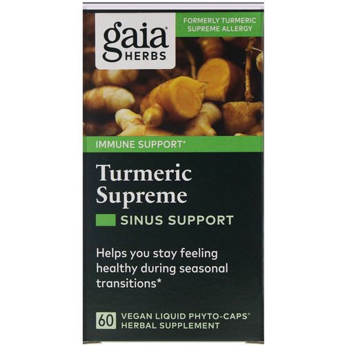 Gaia Herbs, Turmeric Supreme, Sinus Support, 60 Vegan Liquid Phyto-Caps فوائد