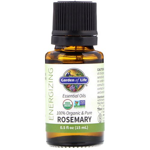 Garden of Life, 100% Organic & Pure, Essential Oils, Energizing, Rosemary, 0.5 fl oz (15 ml) فوائد