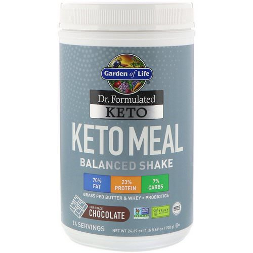 Garden of Life, Dr. Formulated Keto Meal Balanced Shake, Chocolate, 1.54 lbs (700 g) فوائد