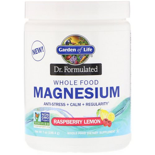 Garden of Life, Dr. Formulated, Whole Food Magnesium Powder, Raspberry Lemon, 7 oz (198.4 g) فوائد