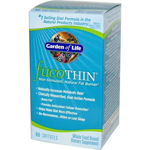 Garden of Life, FucoThin, Non-Stimulant, Natural Fat Burner, 90 Softgels فوائد