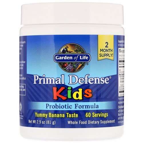 Garden of Life, Kids, Primal Defense, Probiotic Formula, Natural Banana Flavor, 2.9 oz (81 g) فوائد