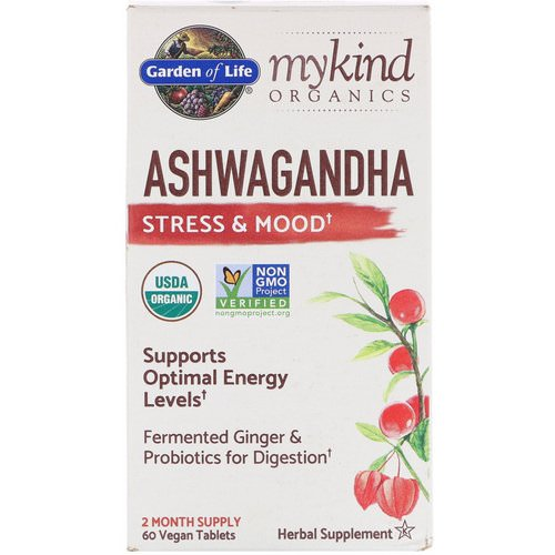 Garden of Life, MyKind Organics, Ashwagandha, Stress & Mood, 60 Vegan Tablets فوائد