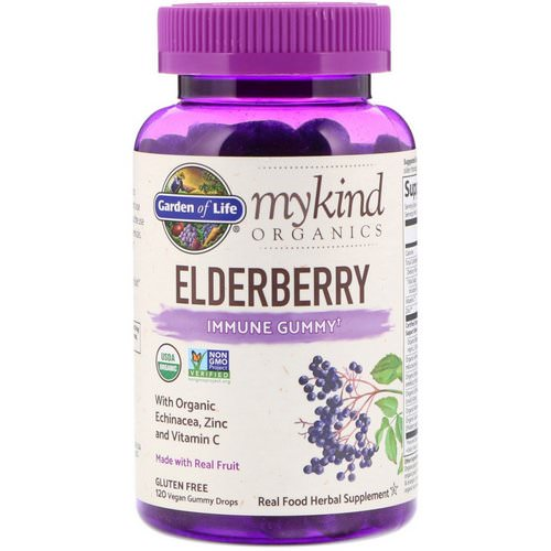 Garden of Life, MyKind Organics, Elderberry, Immune Gummy, 120 Vegan Gummy Drops فوائد