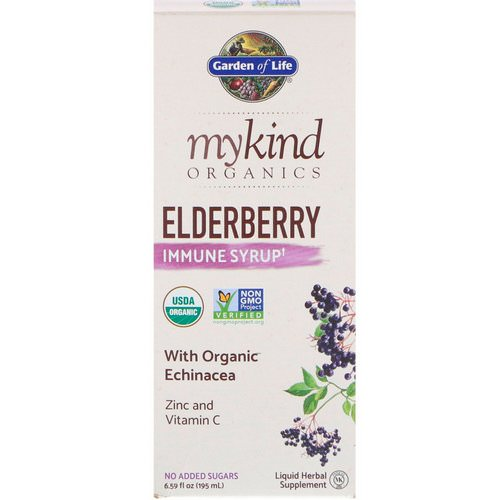 Garden of Life, MyKind Organics, Elderberry Immune Syrup, 6.59 fl oz (195 ml) فوائد