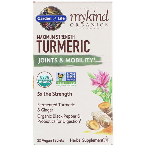 Garden of Life, MyKind Organics, Maximum Strength Turmeric, Joints & Mobility, 30 Vegan Tablets فوائد