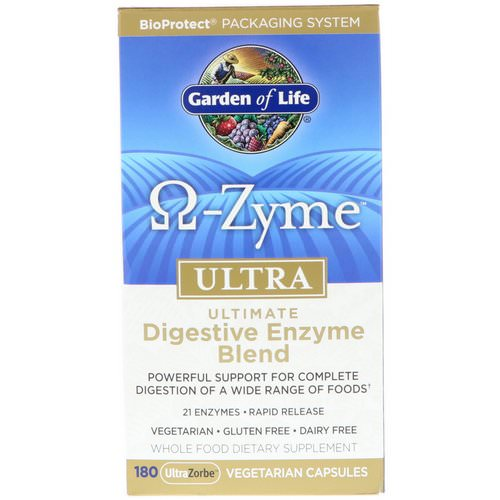 Garden of Life, O-Zyme, Ultra, Ultimate Digestive Enzyme Blend, 180 UltraZorbe Vegetarian Capsules فوائد
